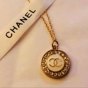 CHANEL Auth Stamped White/ Gold Rhinestone Pendant